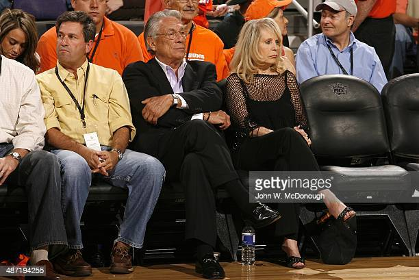 NBA Playoffs Los Angeles Clippers owner Donald Sterling with wife Rochelle Sterling in courtside seats during Game 5 vs Phoenix Suns at America West...