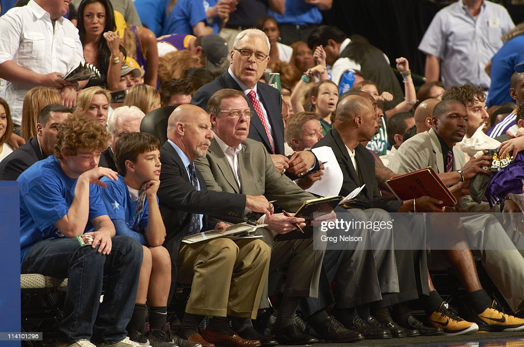 Los Angeles Lakers Head Coach Phil Jackson On Bench During