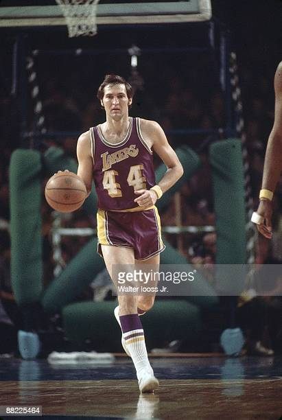 NBA Playoffs Los Angeles Lakers Jerry West in action vs Milwaukee Bucks Game 4 Milwaukee WI 4/16/1972 CREDIT Walter Iooss Jr