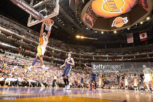 NBA Playoffs Los Angeles Lakers Kobe Bryant in action dunk vs Denver Nuggets at Staples Center Game 1 Los Angeles CA CREDIT John W McDonough