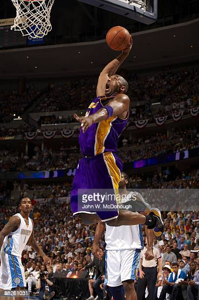 NBA Playoffs Los Angeles Lakers Kobe Bryant in action dunk vs Denver Nuggets Game 6 Denver CO 5/29/2009 CREDIT John W McDonough