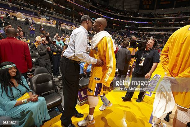 Playoffs: Los Angeles Lakers Kobe Bryant with father Joe and mother Pam before game vs Oklahoma City Thunder. Game 5. Los Angeles, CA 4/27/2010...