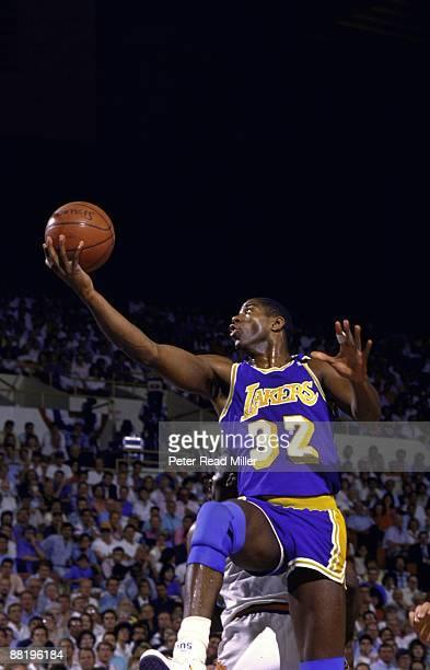 NBA Playoffs Los Angeles Lakers Magic Johnson in action shot vs Phoenix Suns Phoenix AZ 5/26/19895/28/1989 CREDIT Peter Read Miller