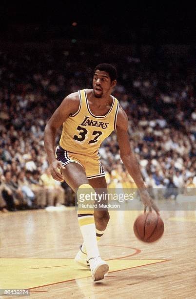 NBA Playoffs Los Angeles Lakers Magic Johnson in action vs Seattle SuperSonics Inglewood CA 4/22/19804/30/1980 CREDIT Richard Mackson