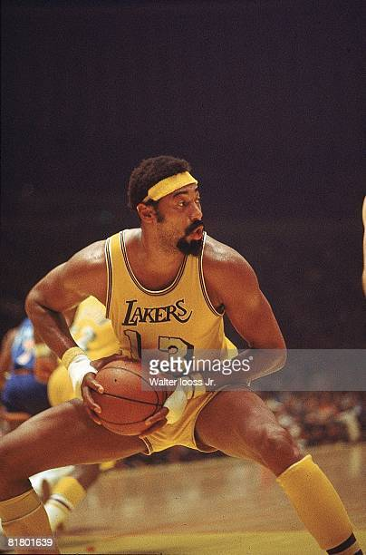 Basketball NBA Playoffs Los Angeles Lakers Wilt Chamberlain in action getting rebound vs Milwaukee Bucks Cover Inglewood CA 4/9/19724/11/1972