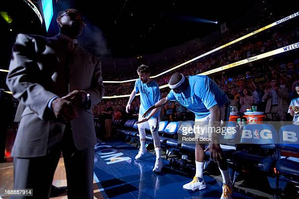 NBA Playoffs Memphis Grizzlies Marc Gasol and Zach Randolph during player introductions before Game 3 vs Oklahoma City Thunder at FedEx Forum Memphis...
