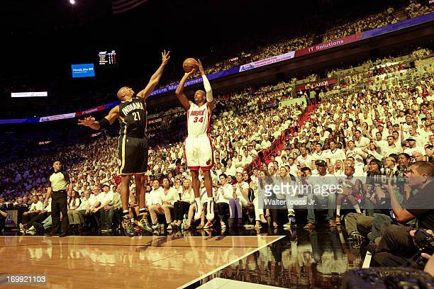 NBA Playoffs Miami Heat Ray Allen in action shooting vs Indiana Pacers David West at American Airlines Arena Game 5 Miami FL CREDIT Walter Iooss Jr