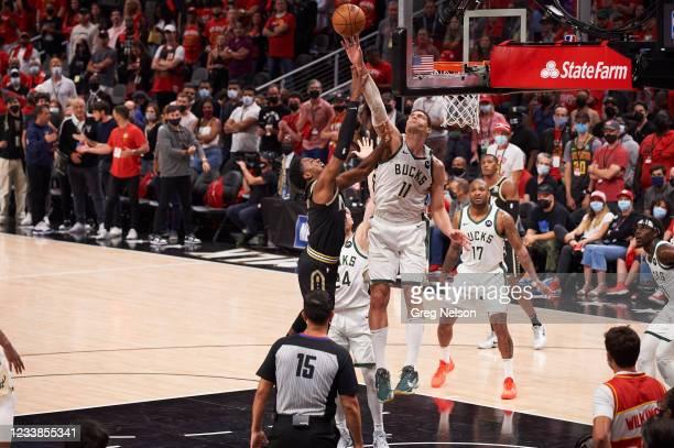 Playoffs: Milwaukee Bucks Brook Lopez in action, blocking shot vs Atlanta Hawks at State Farm Arena. Game 6. Atlanta, GA 7/3/2021 CREDIT: Greg Nelson
