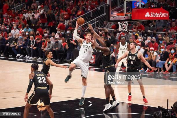 Playoffs: Milwaukee Bucks Brook Lopez in action vs Atlanta Hawks at State Farm Arena. Game 6. Atlanta, GA 7/3/2021 CREDIT: Greg Nelson