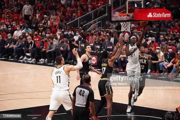 Playoffs: Milwaukee Bucks Jrue Holiday in action vs Atlanta Hawks at State Farm Arena. Game 6. Atlanta, GA 7/3/2021 CREDIT: Greg Nelson