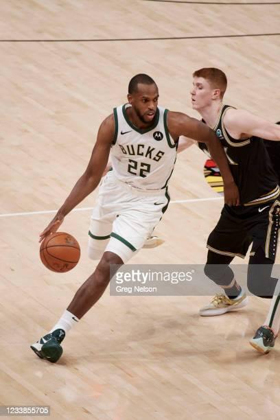 Playoffs: Milwaukee Bucks Khris Middleton in action vs Atlanta Hawks at State Farm Arena. Game 6. Atlanta, GA 7/3/2021 CREDIT: Greg Nelson