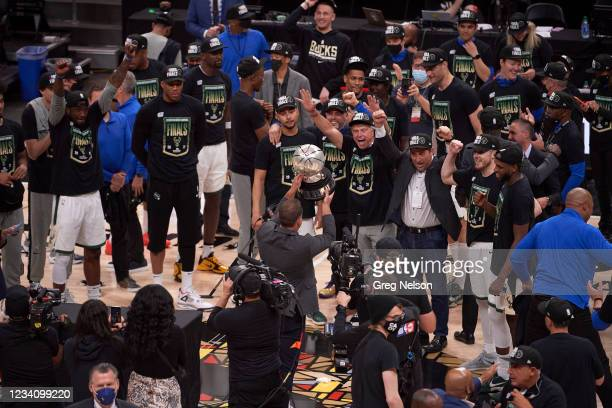 Playoffs: Milwaukee Bucks owner Wes Edens and team president Peter Feigin victorious after winning game and series vs Atlanta Hawks at State Farm...