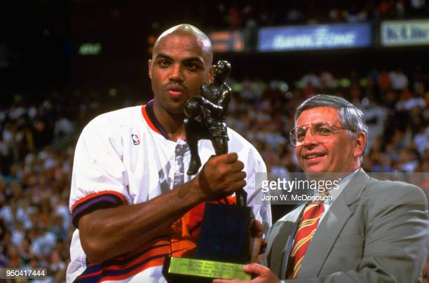 NBA Playoffs NBA commissioner David Stern presenting MVP trophy to Phoenix Suns Charles Barkley before game vs Seattle SuperSonics at America West...