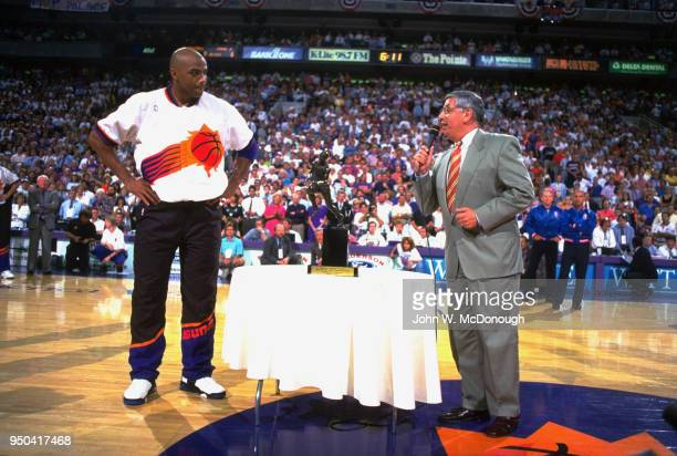 NBA Playoffs NBA commissioner David Stern presenting MVP trophy to Phoenix Suns Charles Barkley before game vs Seattle SuperSonics at America Wester...