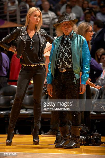 NBA Playoffs NBA Superfan James Goldstein with Danish model Amalie Wichmann before Los Angeles Lakers vs San Antonio Spurs game at Staples Center...