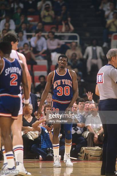NBA Playoffs New York Knicks Bernard King on court during Game 5 vs Detroit Pistons at Joe Louis ArenaDetroit MI 4/27/1984CREDIT Jerry Wachter