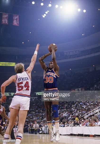 NBA Playoffs New York Mets Bernard King in action shot vs Detroit Pistons Game 5 Detroit MI 4/27/1984 CREDIT Jerry Wachter