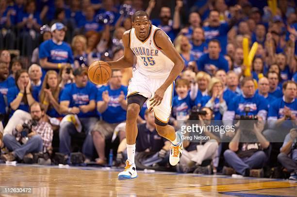 NBA Playoffs Oklahoma City Thunder Kevin Durant in action vs Denver Nuggets at Oklahoma City Arena Game 1 Oklahoma City OK 4/17/2011CREDIT Greg Nelson