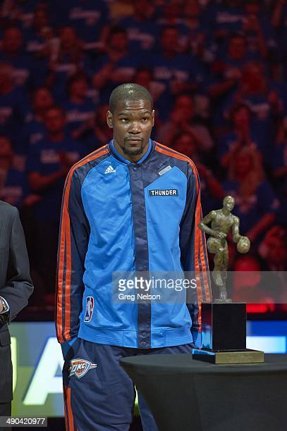 Playoffs: Oklahoma City Thunder Kevin Durant receiving Maurice Podoloff MVP Trophy before Game 2 vs Los Angeles Clippers at Chesapeake Energy Arena....