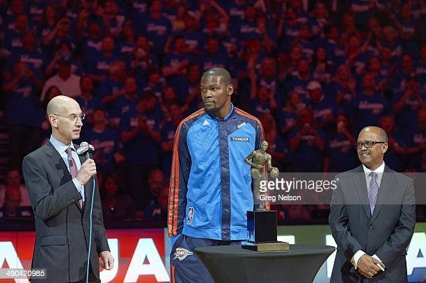 Playoffs: Oklahoma City Thunder Kevin Durant receiving Maurice Podoloff MVP Trophy from NBA commissioner Adam Silver before Game 2 vs Los Angeles...