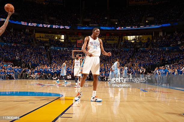 NBA Playoffs Oklahoma City Thunder Kevin Durant victorious during game vs Denver Nuggets at Oklahoma City Arena Game 1 Oklahoma City OK...