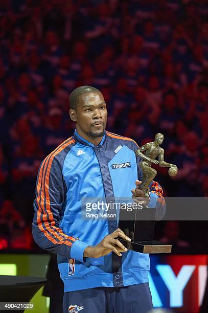 Playoffs: Oklahoma City Thunder Kevin Durant victorious after receiving Maurice Podoloff MVP Trophy before Game 2 vs Los Angeles Clippers at...
