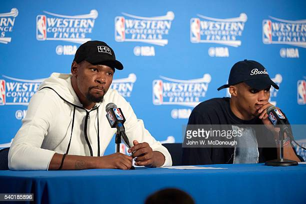 NBA Playoffs Oklahoma City Thunder Kevin Durant with Russell Westbrook during press conference after game vs Golden State Warriors at Oracle Arena...