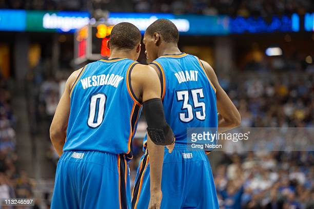 NBA Playoffs Oklahoma City Thunder Russell Westbrook and Kevin Durant during game vs Denver Nuggets at Pepsi Center Game 3 Denver CO 4/23/2011CREDIT...