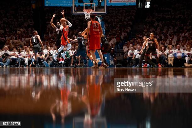 NBA Playoffs Oklahoma City Thunder Russell Westbrook in action vs Houston Rockets James Harden at Chesapeake Energy Arena Oklahoma City OK CREDIT...