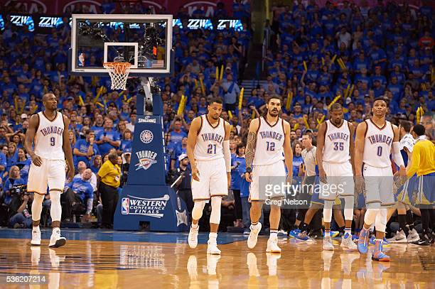 NBA Playoffs Oklahoma City Thunder Serge Ibaka Andre Roberson Steven Adams Kevin Durant and Russell Westbrook on court during game vs Golden State...