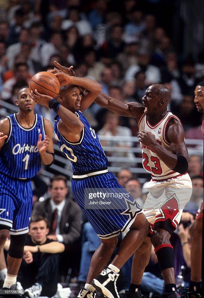 online store ddfa7 a3858 Orlando Magic Brian Shaw in action vs Chicago Bulls Michael ...