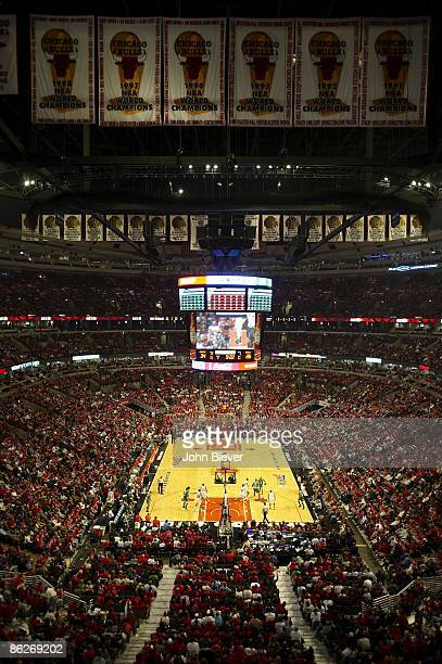 NBA Playoffs Overall view of championship banners at United Center during Chicago Bulls vs Boston Celtics Game 3 Chicago IL 4/23/2009 CREDIT John...