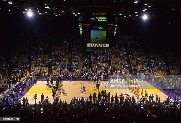 NBA Playoffs Overall view of Los Angeles Lakers and San Antonio Spurs players during national anthem before Game 1 at Great Western Forum Inglewood...