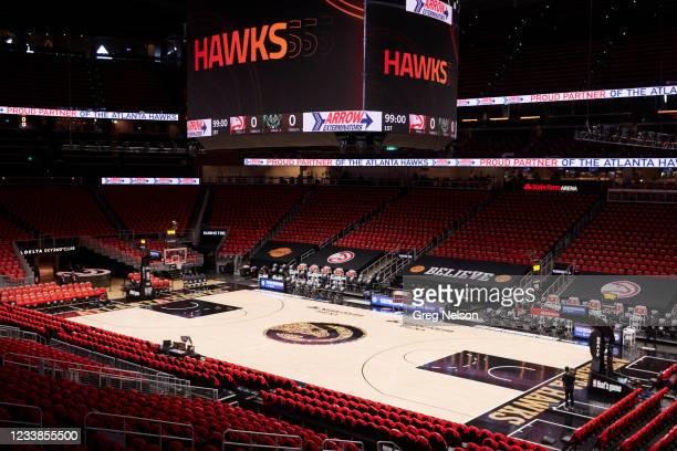Playoffs: Overall view of State Farm Arena before Atlanta Hawks vs Milwaukee Bucks game. Game 6. Atlanta, GA 7/3/2021 CREDIT: Greg Nelson
