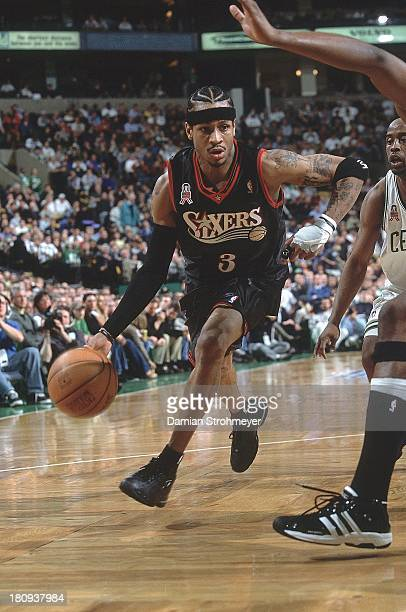NBA Playoffs Philadelphia 76ers Allen Iverson in action vs Boston Celtics at Fleet Center Game 2 Boston MA CREDIT Damian Strohmeyer
