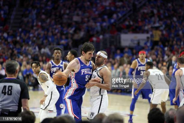 Playoffs: Philadelphia 76ers Boban Marjanovic in action vs Brooklyn Nets Jared Dudley at Wells Fargo Center. Game 1. Philadelphia, PA 4/13/2019...