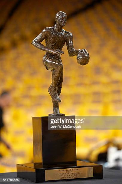 NBA Playoffs Portrait Of Golden State Warriors Stephen Currys Most Valuable Player Trophy Before Game Vs