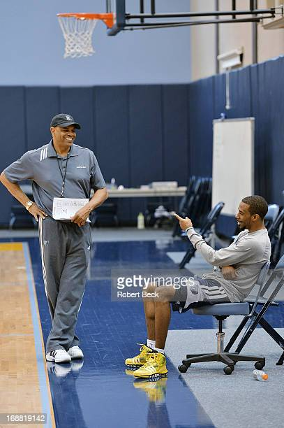 NBA Playoffs Portrait of Memphis Grizzlies head coach Lionel Hollins and Mike Conley during practice at Methodist Healthcare Practice Facility in...