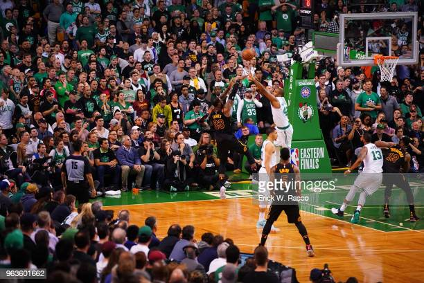 NBA Playoffs Rear view Cleveland Cavaliers LeBron James in action shooting vs Boston Celtics Al Horford at TD Garden Game 7 Boston MA CREDIT Erick W...