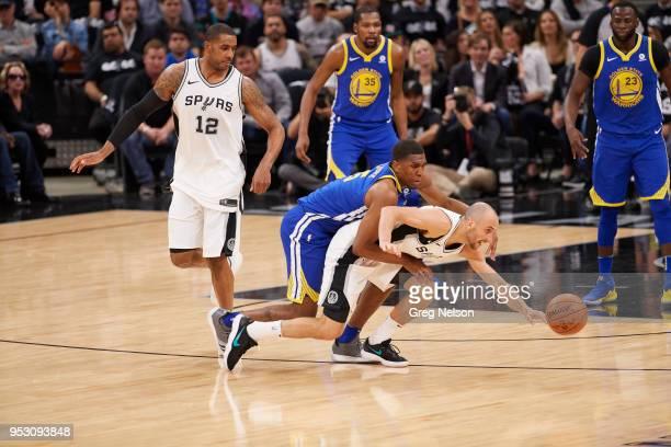 NBA Playoffs San Antonio Spurs Manu Ginobili in action vs Golden State Warriors Kevon Looney at ATT Center Game 3 San Antonio TX CREDIT Greg Nelson