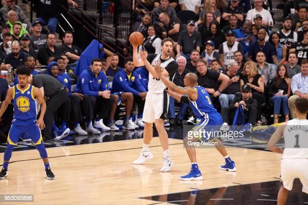 NBA Playoffs San Antonio Spurs Pau Gasol in action vs Golden State Warriors David West at ATT Center Game 3 San Antonio TX CREDIT Greg Nelson