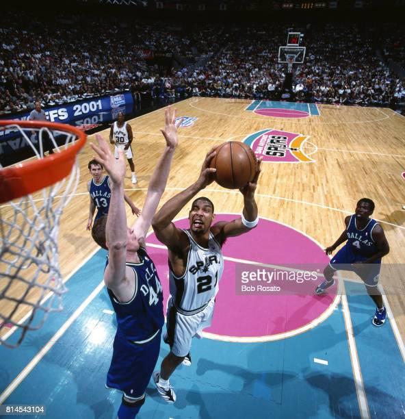 NBA Playoffs San Antonio Spurs Tim Duncan in action vs Dallas Mavericks Shawn Bradley at Alamodome Game 2 San Antonio TX CREDIT Bob Rosato