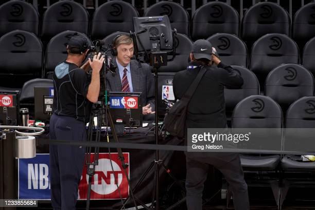 Playoffs: TNT play by play announcer Marv Albert before announcing his last game before Atlanta Hawks vs Milwaukee Bucks game at State Farm Arena....