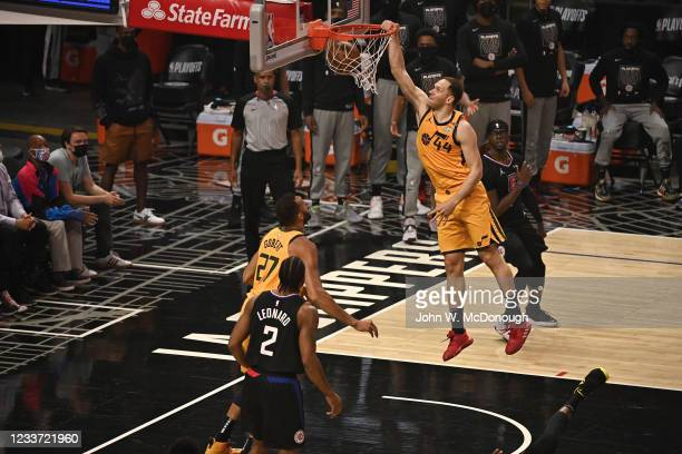 Playoffs: Utah Jazz Bojan Bogdanovic in action, dunking vs Los Angeles Clippers at Staples Center. Game 4. Los Angeles, CA 6/14/2021 CREDIT: John W....