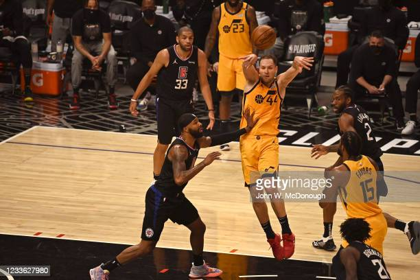 Playoffs: Utah Jazz Bojan Bogdanovic in action, passing vs Los Angeles Clippers at Staples Center. Game 4. Los Angeles, CA 6/14/2021 CREDIT: John W....