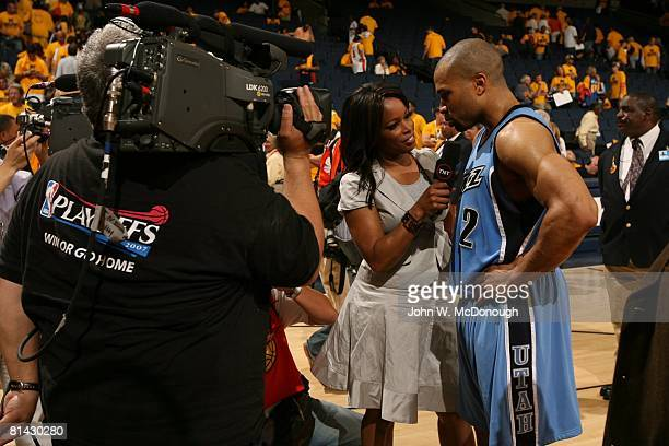 Basketball NBA Playoffs Utah Jazz Carlos Boozer during media interview with TNT announcer Pam Oliver after winning Game 4 vs Golden State Warriors...