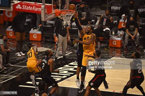 Playoffs: Utah Jazz Derrick Favors in action vs Los Angeles Clippers at Staples Center. Game 4. Los Angeles, CA 6/14/2021 CREDIT: John W. McDonough