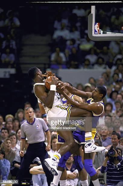 NBA Playoffs Utah Jazz Karl Malone in action rebound vs Los Angeles Lakers Magic Johnson Game 7 Inglewood CA 5/21/1988 CREDIT Richard Mackson