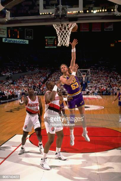 NBA Playoffs Utah Jazz Mark Eaton in action hook shot vs Portland Trail Blazers at Rose Garden Game 1 Portland OR CREDIT Richard Mackson