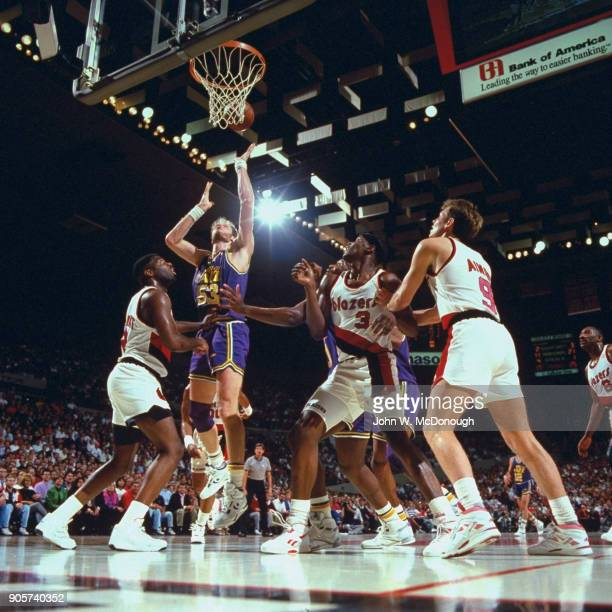 NBA Playoffs Utah Jazz Mark Eaton in action shot vs Portland Trail Blazers at Memorial Coliseum Game 2 Portland OR CREDIT John W McDonough